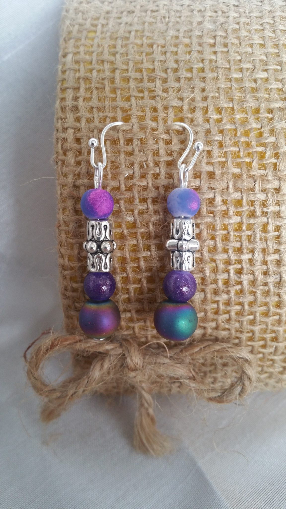 charm tip and beads silver metal Ethnic earrings in purple and purple agate bead